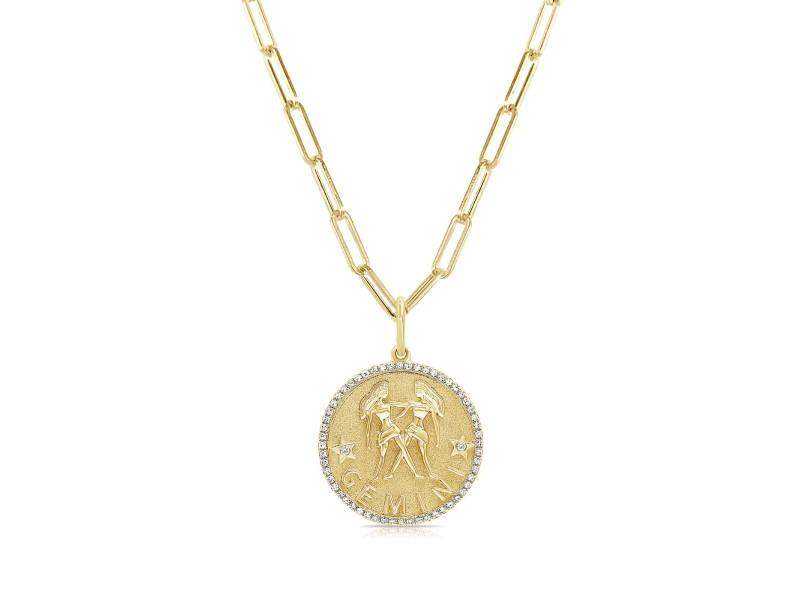 Gemini Zodiac Diamond Necklace in 14KT Yellow Gold