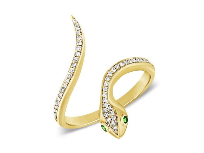 14k Yellow Gold & Diamond Snake Ring