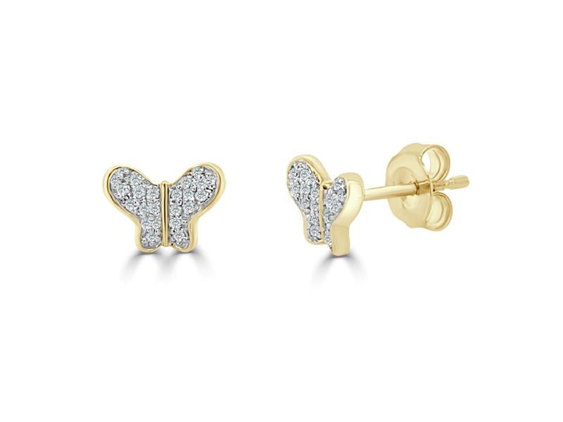 14k Yellow Gold & Diamond Butterfly Studs