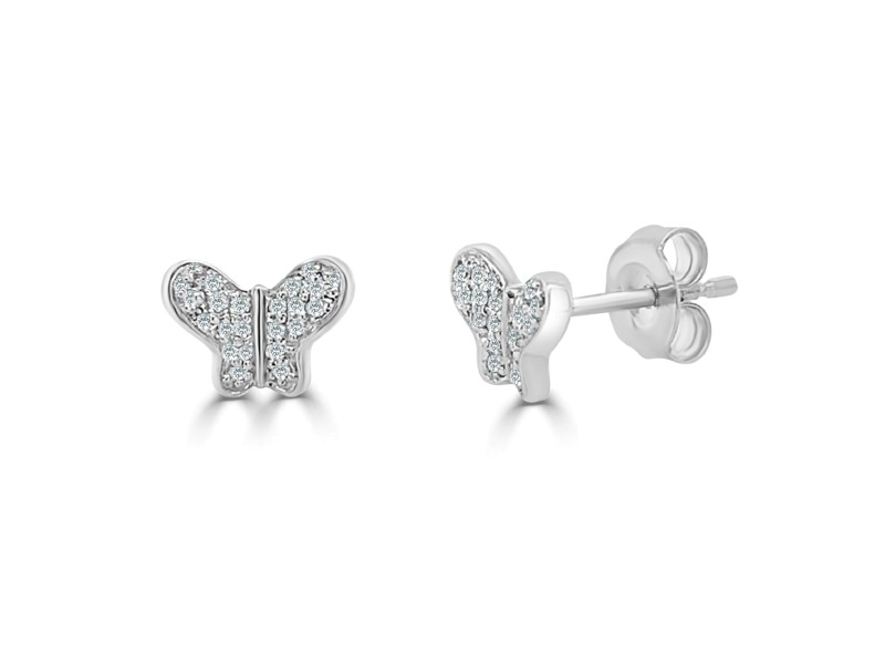 14k White Gold & Diamond Butterfly Studs