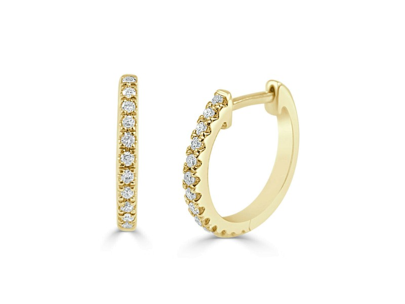 14k Yellow Gold & Diamond Huggie Earrings