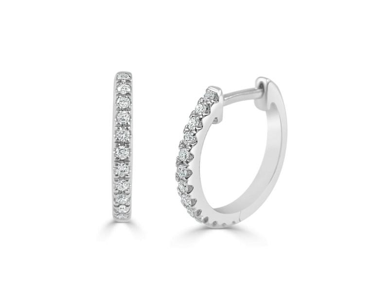 14k White Gold & Diamond Huggie Earrings