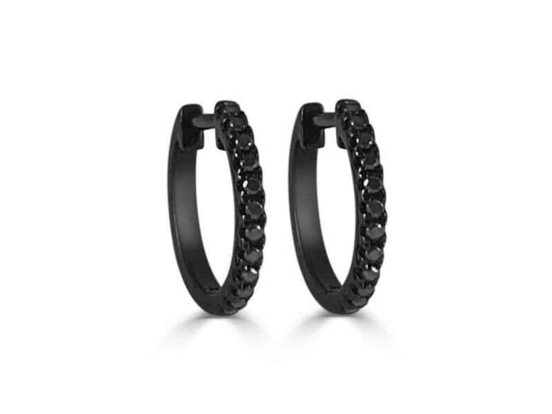 14k Black Gold & Diamond Huggie Earrings