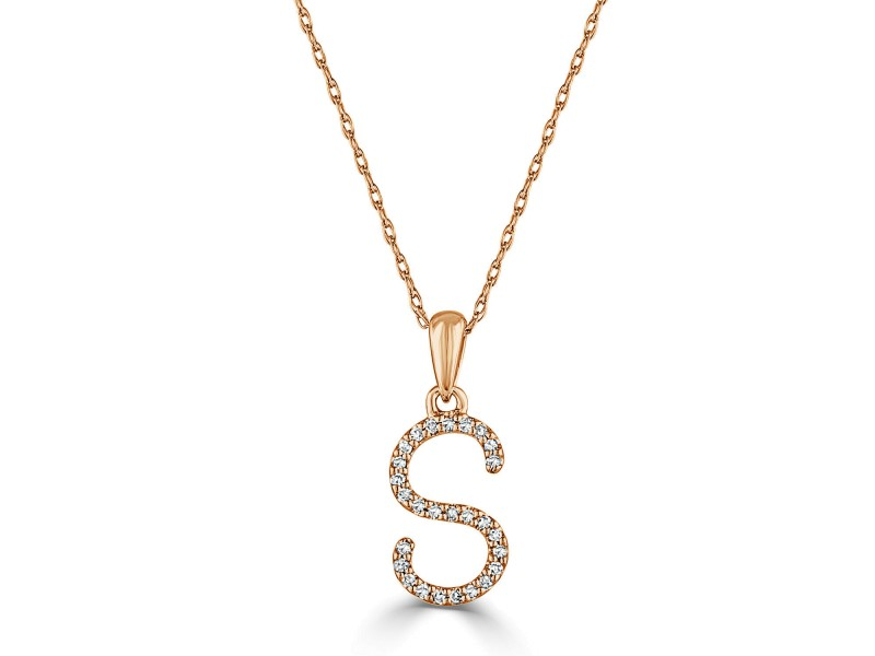 14k Gold & Diamond Initial Necklace- S