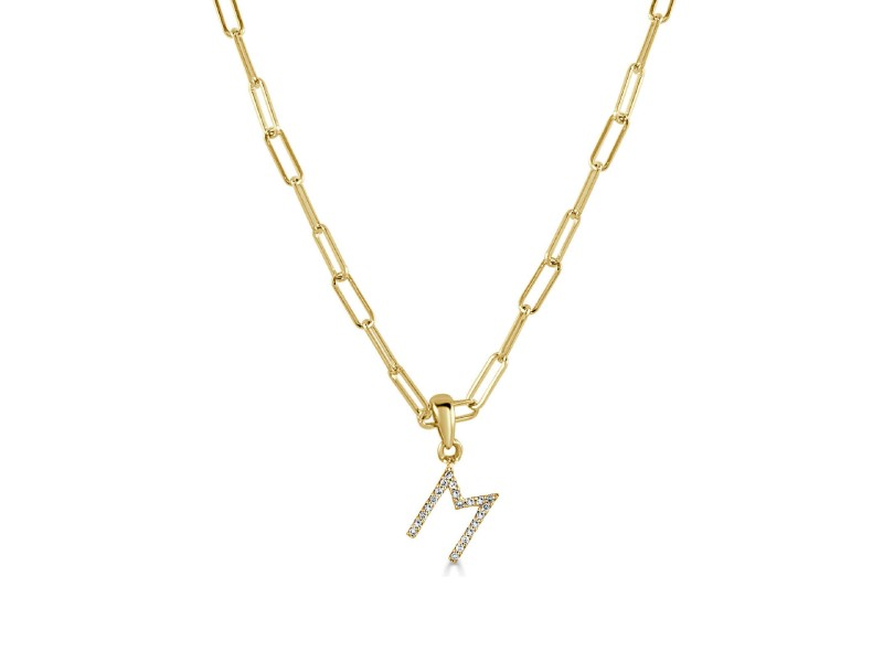 """14k Yellow Gold & Diamond Paperclip Initial """"M"""" Necklace"""