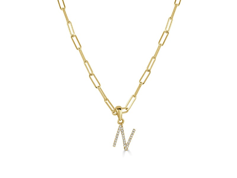 """14k Yellow Gold & Diamond Paperclip Initial """"N"""" Necklace"""