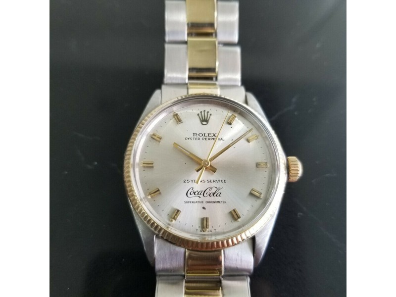 Mens Rolex Oyster Ref.1005 14k Gold & SS Automatic Coca Cola Dial, c.1970s RA130