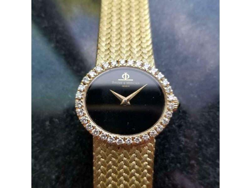Ladies 18k Gold Baume & Mercier Geneve Diamond Watch 25mm Manual 1980s RAC1