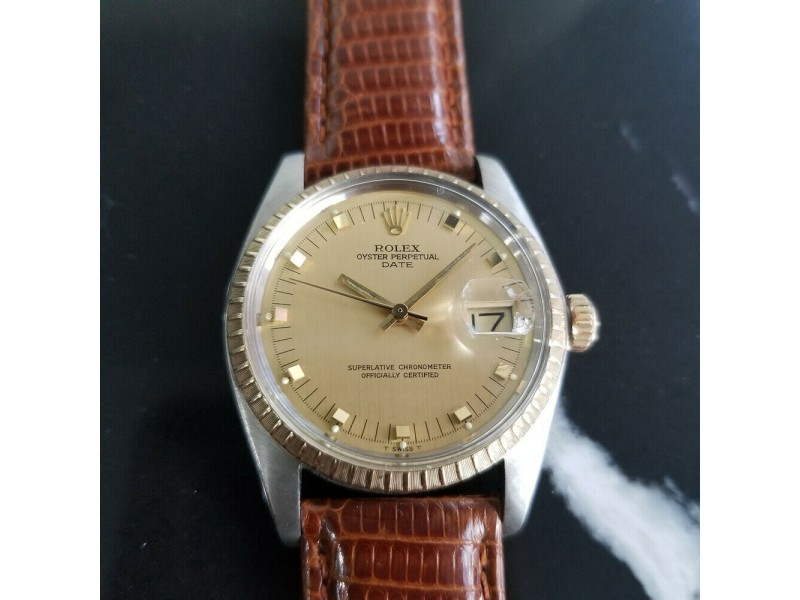 Mens Rolex Oyster Date Ref.1505 35mm 14k Gold & SS Automatic c.1970s RA105BRN