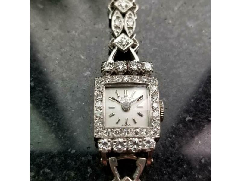 Ladies IWC 18k White Gold Diamond Cocktail 13mm 1920s Vintage Watch Swiss MA160