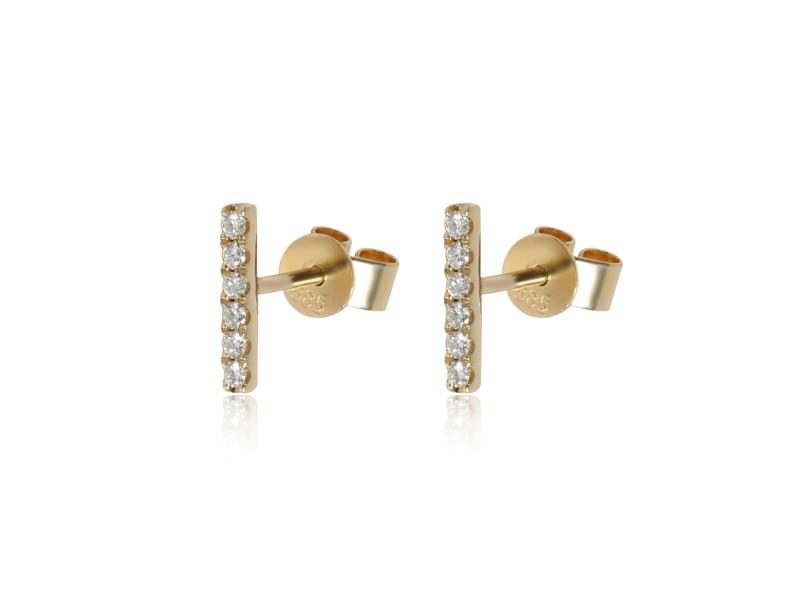 Diamond Bar Earrings in 14K Yellow Gold 0.09 ctw