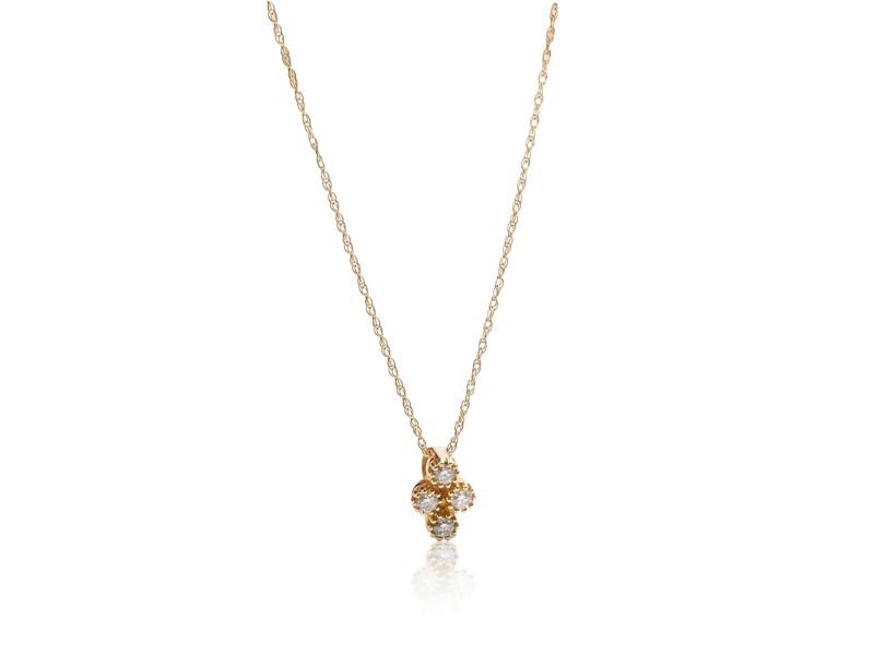Diamond Cluster Pendant Necklace 14K Yellow Gold 0.11 ctw