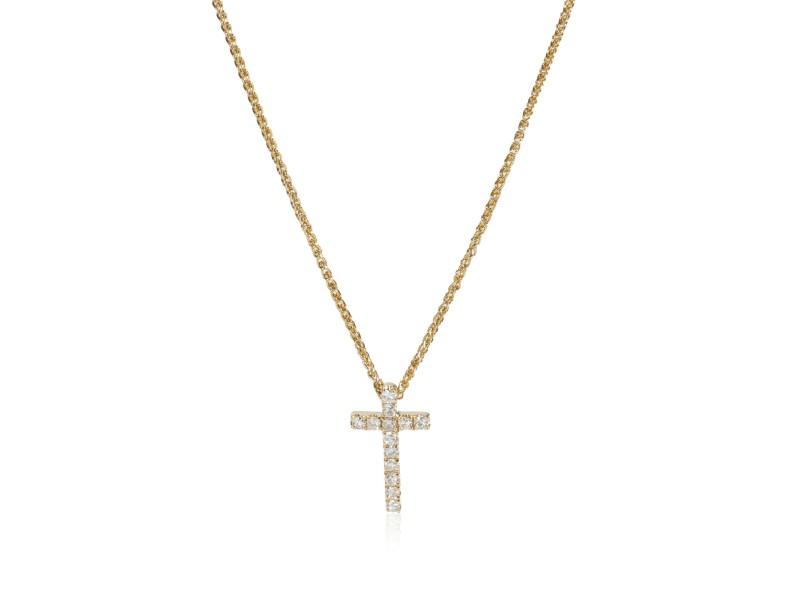 Diamond Cross Pendant Necklace 14K Yellow Gold  0.10 ctw