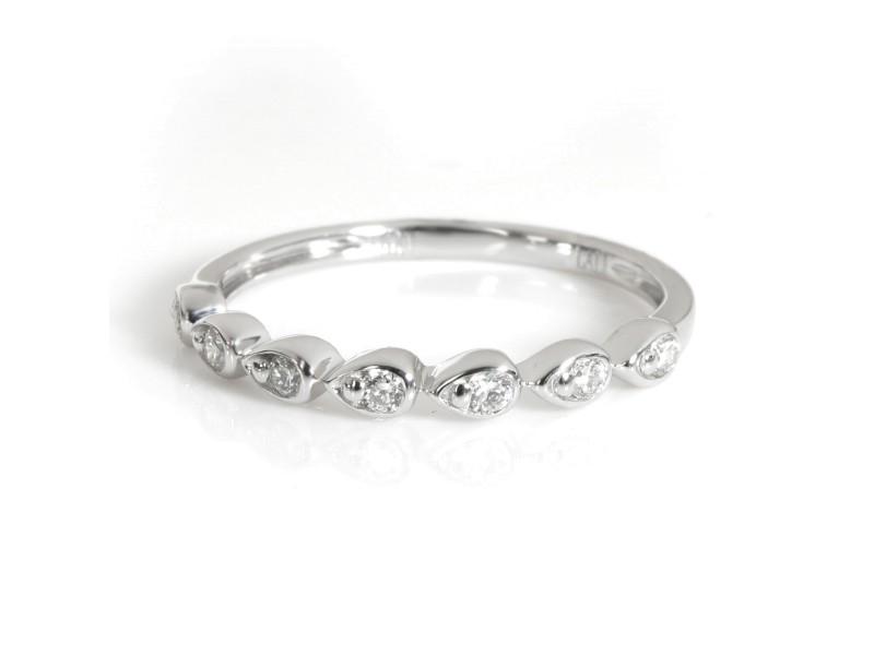 Bezel Set Stackable Diamond Ring in 14KT White Gold 0.17 ctw