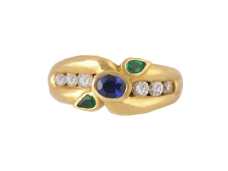 Schroeder 18K Yellow Gold Sapphire Emerald Diamond Ring
