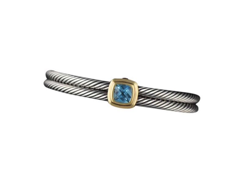 David Yurman Sterling Silver & 18K Yellow Gold Blue Topaz Double Cable Bracelet Cuff