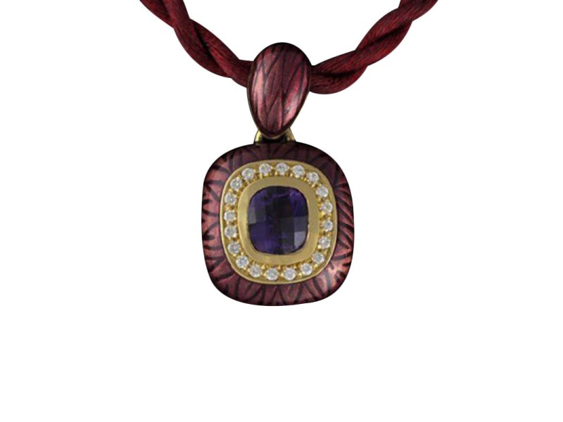 18K Yellow Gold Amethyst Diamond Enamel Necklace
