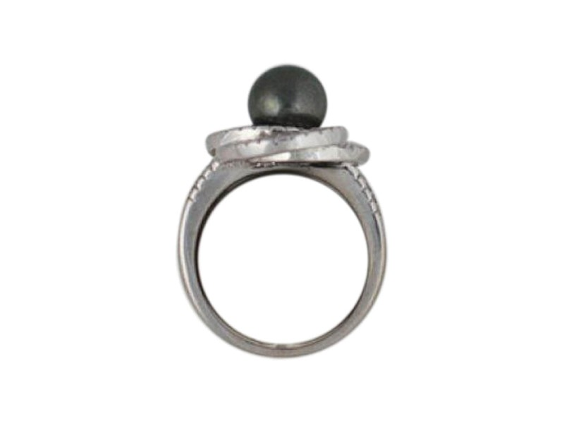 18K White Gold Tahitian Pearl Diamond Vintage Ring