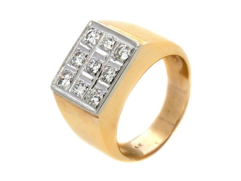 Estate Vintage 14k Yellow Gold Mens 1 CT Diamond Ring