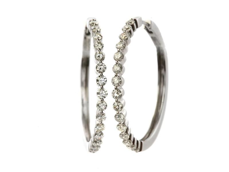 14k White Gold Diamond Hoops Earrings