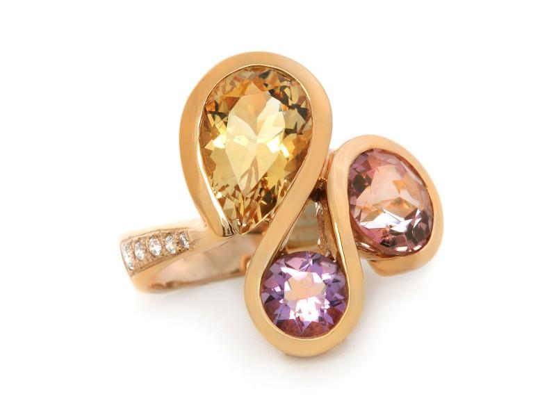 Colorful 18k Rose Gold Multi-gemstones Diamonds Ring