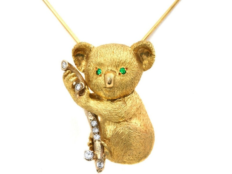 Estate 18k Yellow Gold Koala Bear On Limb Brooch/Pendant
