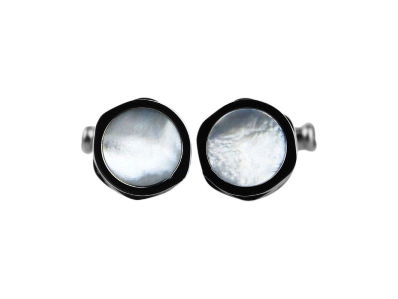 Montblanc 18K White Gold With Mother of Pearl Inlay Cufflinks