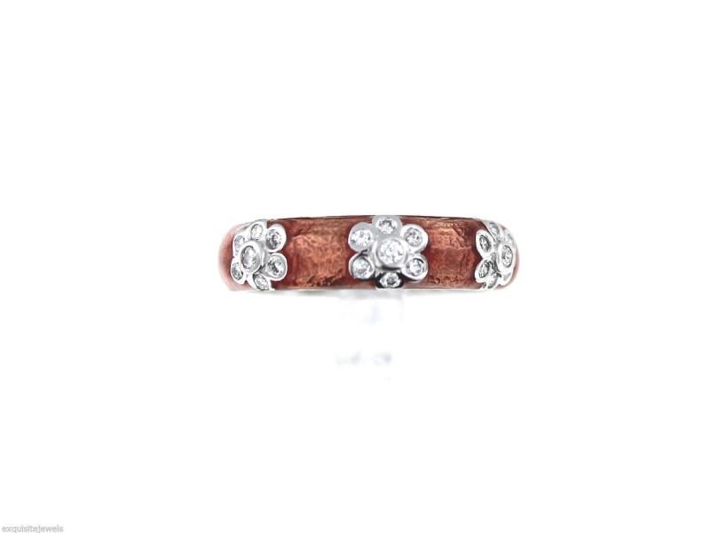 Hidalgo 18K White Gold Rose Enamel Diamond Band Ring
