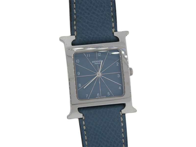 Hermes Of Paris Hh1.510 Blue Jean Dial And Leather Ladies Watch