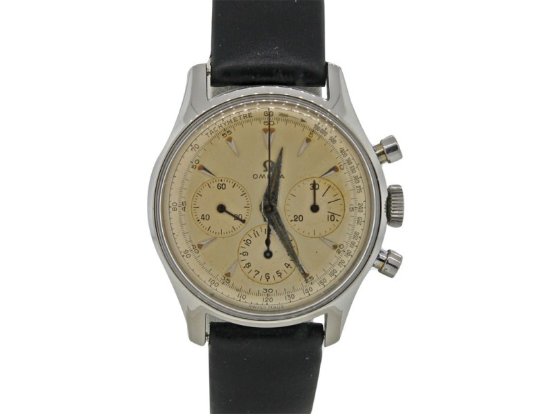 Omega 2451-7 Stainless Steel Hand Wind Chronograph 35mm Vintage C1950 Watch