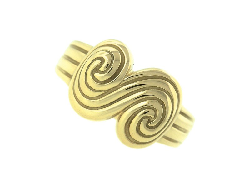 Tiffany & Co. 18K 750 Yellow Gold Spiro Fluted Swirl Scroll Ring
