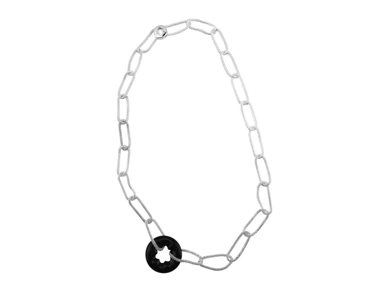 Montblanc Rhodium Plated Polished Sterling Silver Onyx Necklace