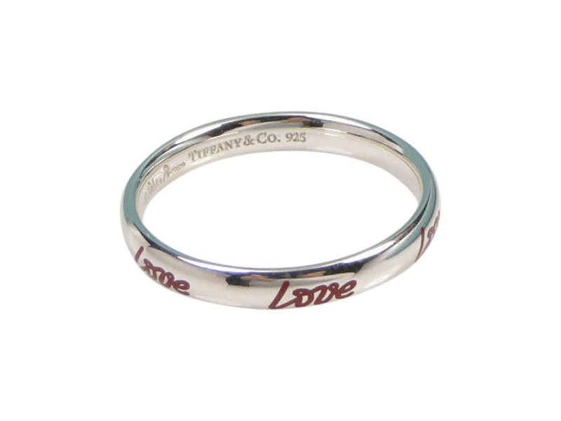 74c55344b Tiffany & Co. Picasso Graffiti Love Sterling Silver & Red Enamel Band Ring  Size 5.5