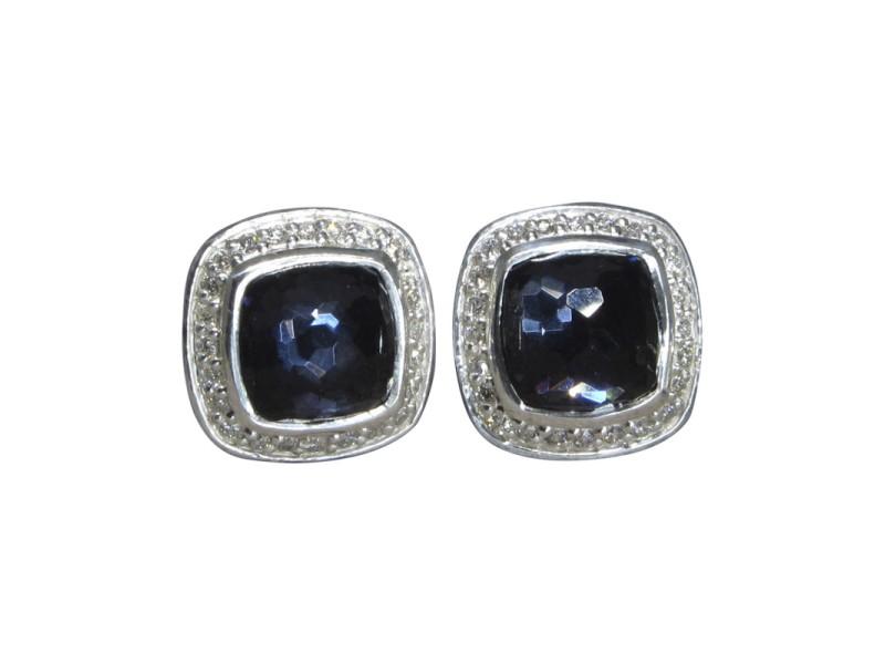 David Yurman Petite Albion 925 Sterling Silver Orchid & 0.25ctw. Diamond Earrings