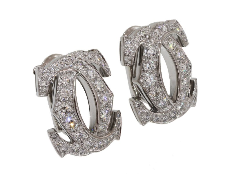 Cartier 18K White Gold with Diamond Double C Earrings