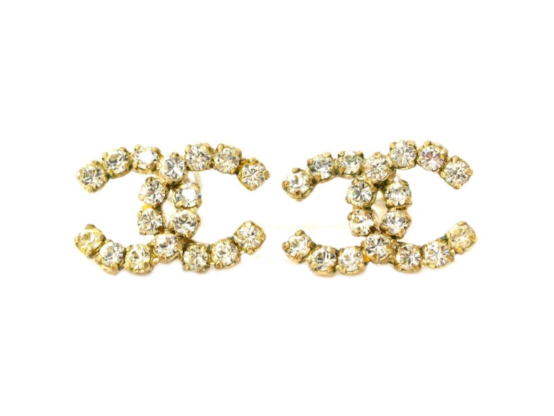 Chanel Coco Mark Gold Tone Hardware with Rhinestone Earrings