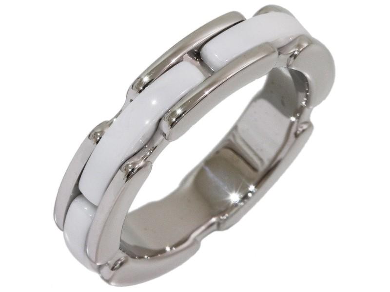 Chanel 18K White Gold Ceramic Ring Size 4