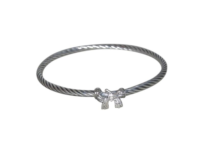 David Yurman Sterling Silver Diamond Bow Bangle Bracelet