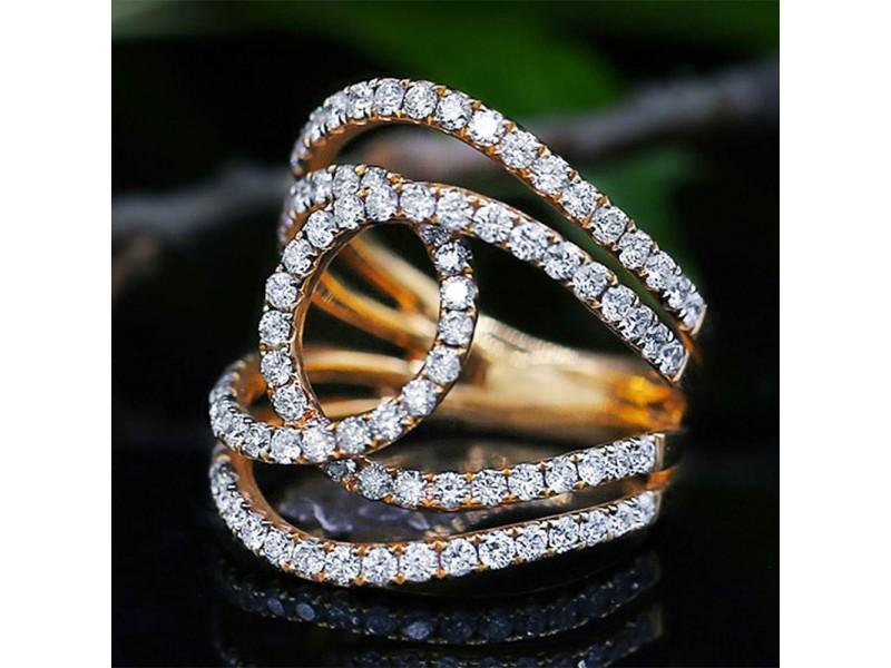 18k Rose Gold Cocktail 1.75ct Diamond Ring Size 8.5