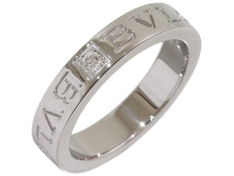 Bvlgari 18K White Gold Diamond Ring Size 5.75