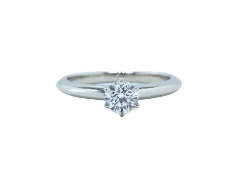 Tiffany & Co. Solitaire 950 Platinum 0.38ctw. Diamond Engagement Ring Size 5