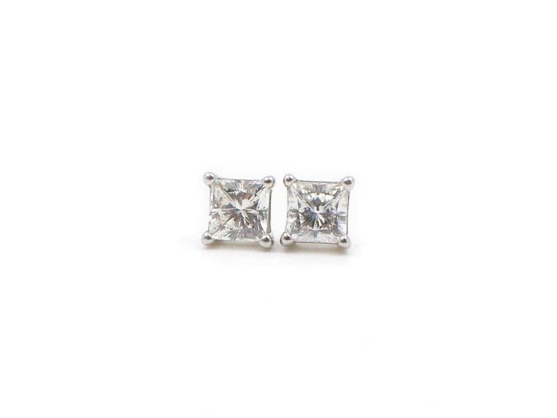 Celebration Princess Diamond Stud Earrings 0.98 tcw 18k White Gold
