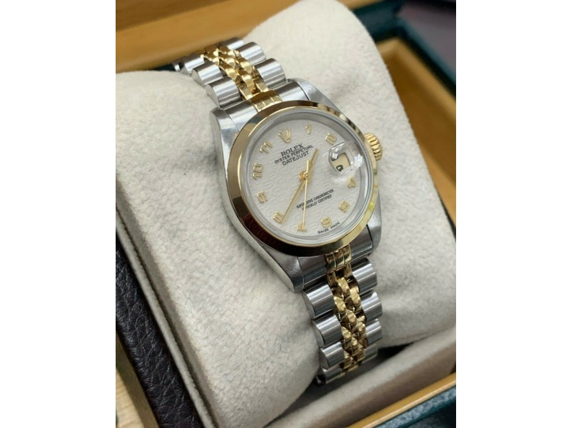Rolex Ladies Datejust 69163 18K Yellow Gold & Stainless Steel Box & Papers