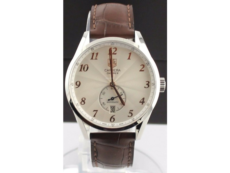 TAG HEUER CARRERA HERITAGE WAS2112.FC6181 AUTO CALIBRE 6 LEATHER WATCH