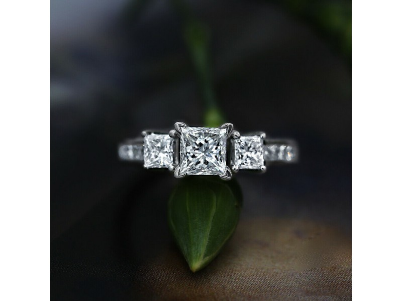 14k White Gold AGI Certified Engagement Ring with 2.05ct. Diamonds