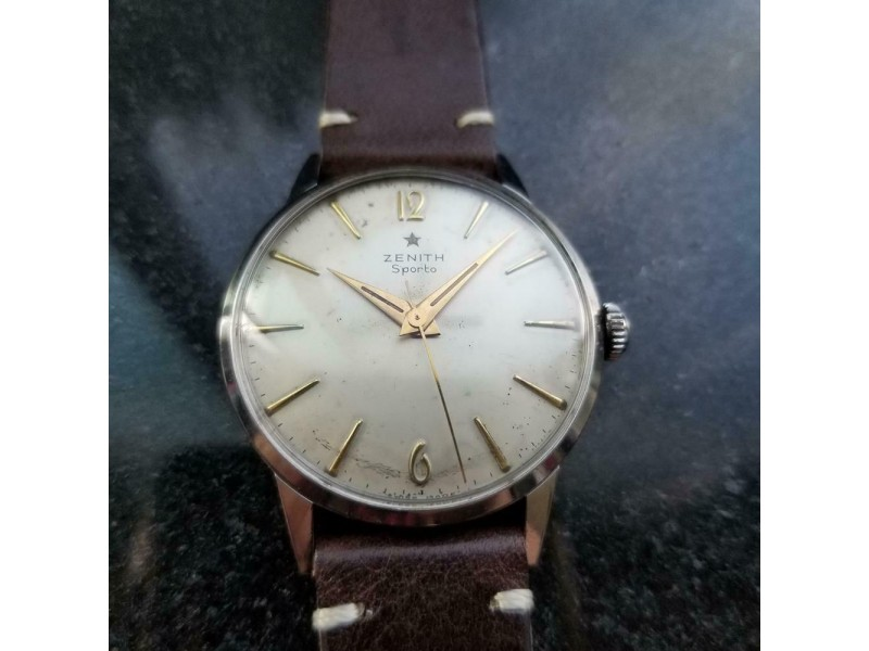 ZENITH Men's Sporto cal.120 Manual Wind Dress Watch, c.1960s Swiss Vintage LV869