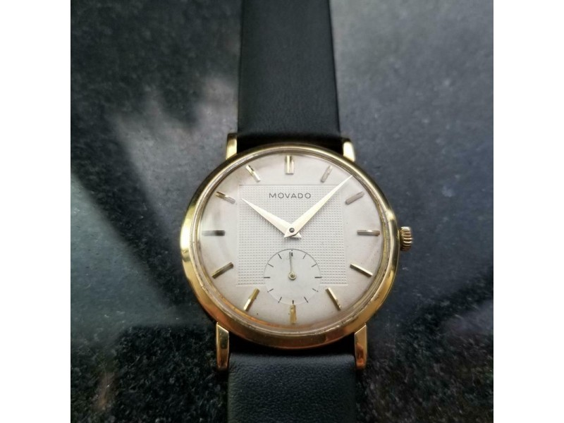 MOVADO Men's 18K Gold Deluxe ref.5333 Manual-Wind c.1950s Swiss Vintage LV506BLK