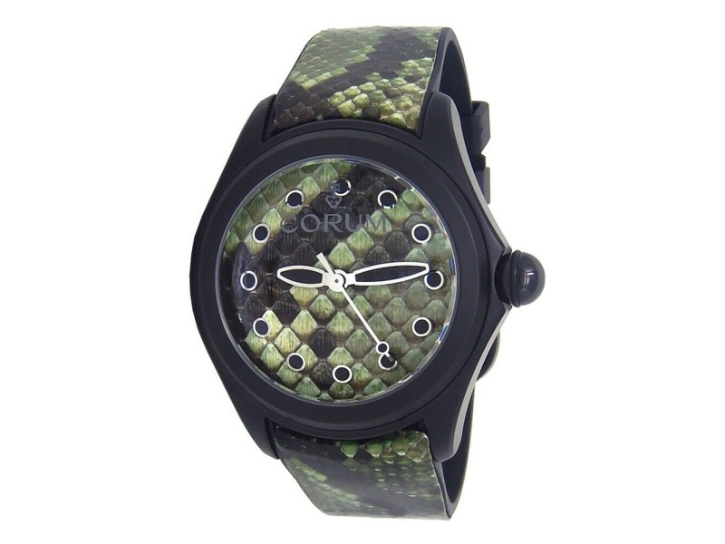 Corum Bubble 47 Green Python Black PVD Stainless Steel Automatic L082/03192