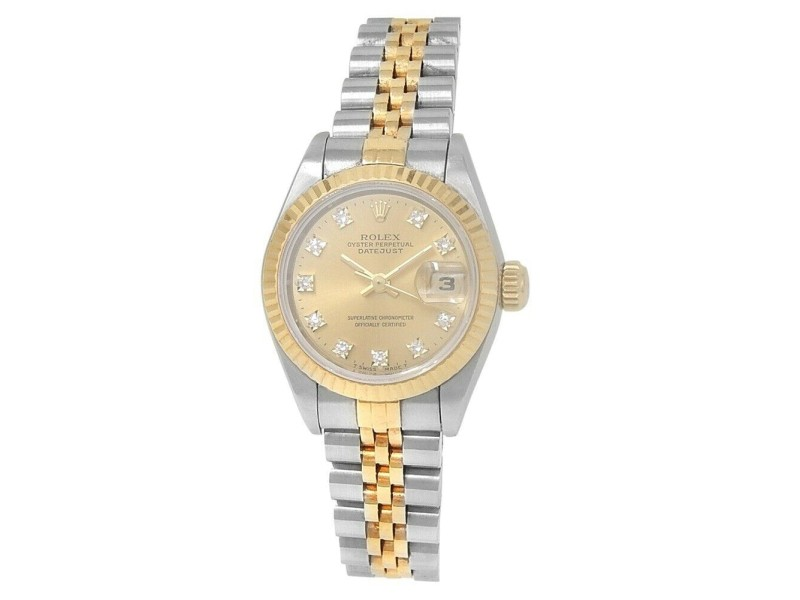 Rolex Datejust 18k Yellow Gold Stainless Steel Diamonds Champagne Watch 69173