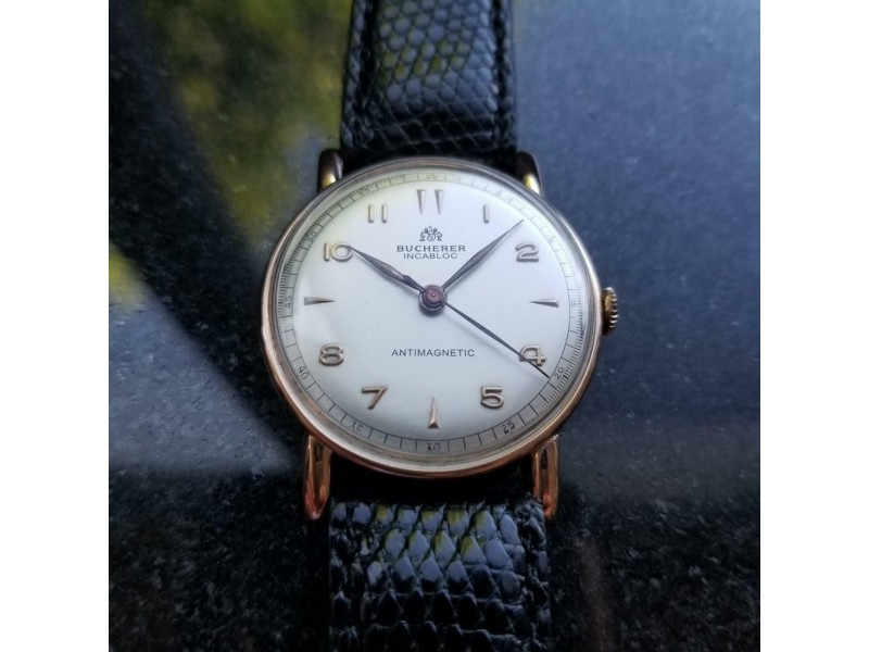 Bucherer Men's 35mm Solid 18K Rose Gold 1148 Hand-Wind Swiss Watch 1960s LV363